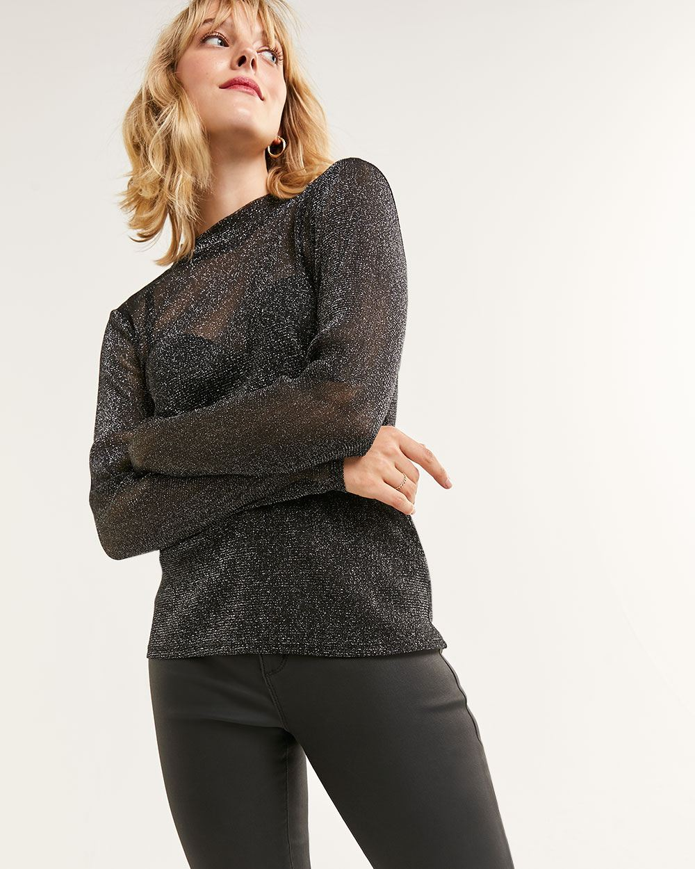Long Sleeve Mock Neck Shimmer Mesh Top