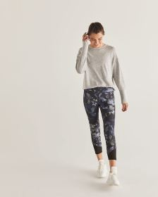 Hyba Printed Cropped Leggings with Mesh