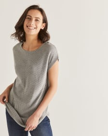 Dolman Short Sleeve Ribbed Tunic