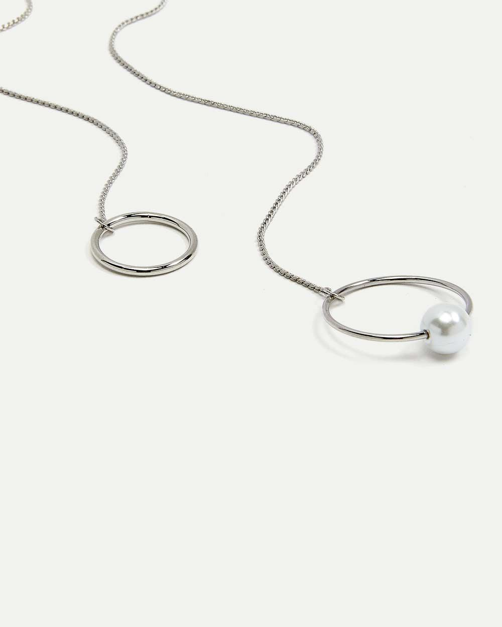 Long Necklace with Rings & Pearl Pendant