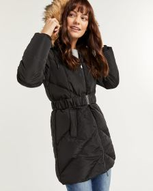 Hooded Quilted Coat with Belt