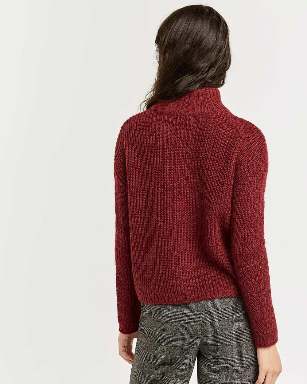Pointelle & Cable Long Sleeve Sweater