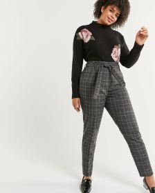 Paperbag Slim Plaid Pants