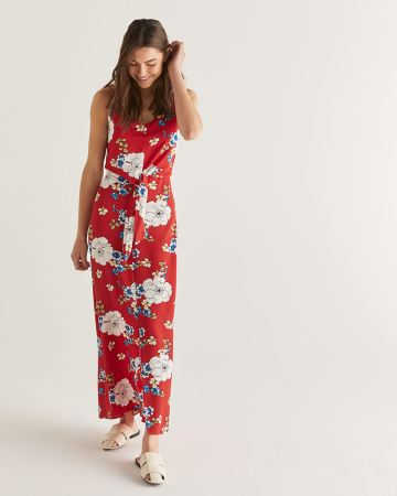 Floral Print Knotted Maxi Dress