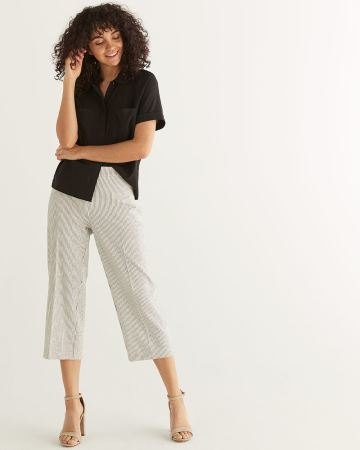 Wide Leg Stripe Cropped Pants