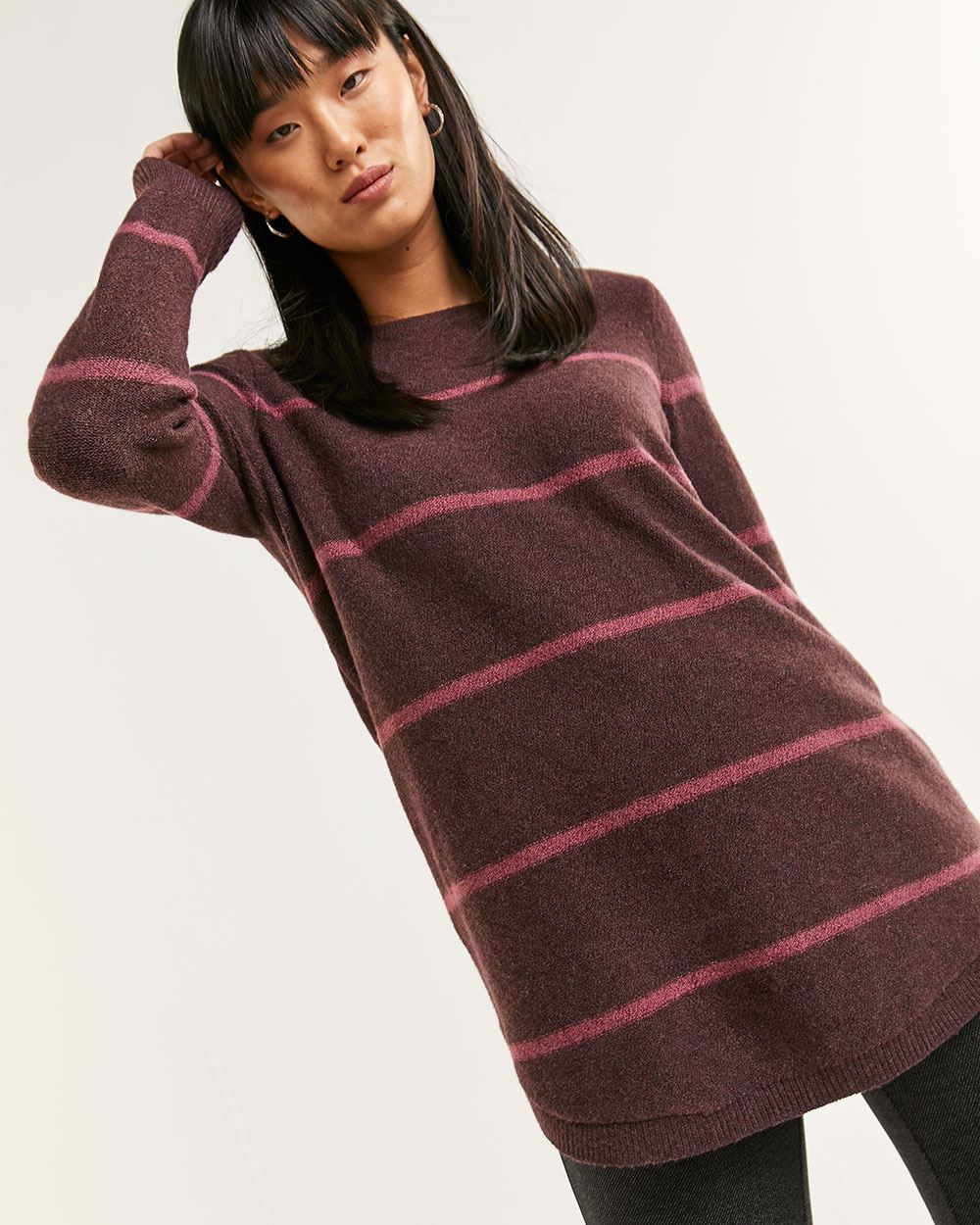 Long Sleeve Boat Neck Striped Tunic