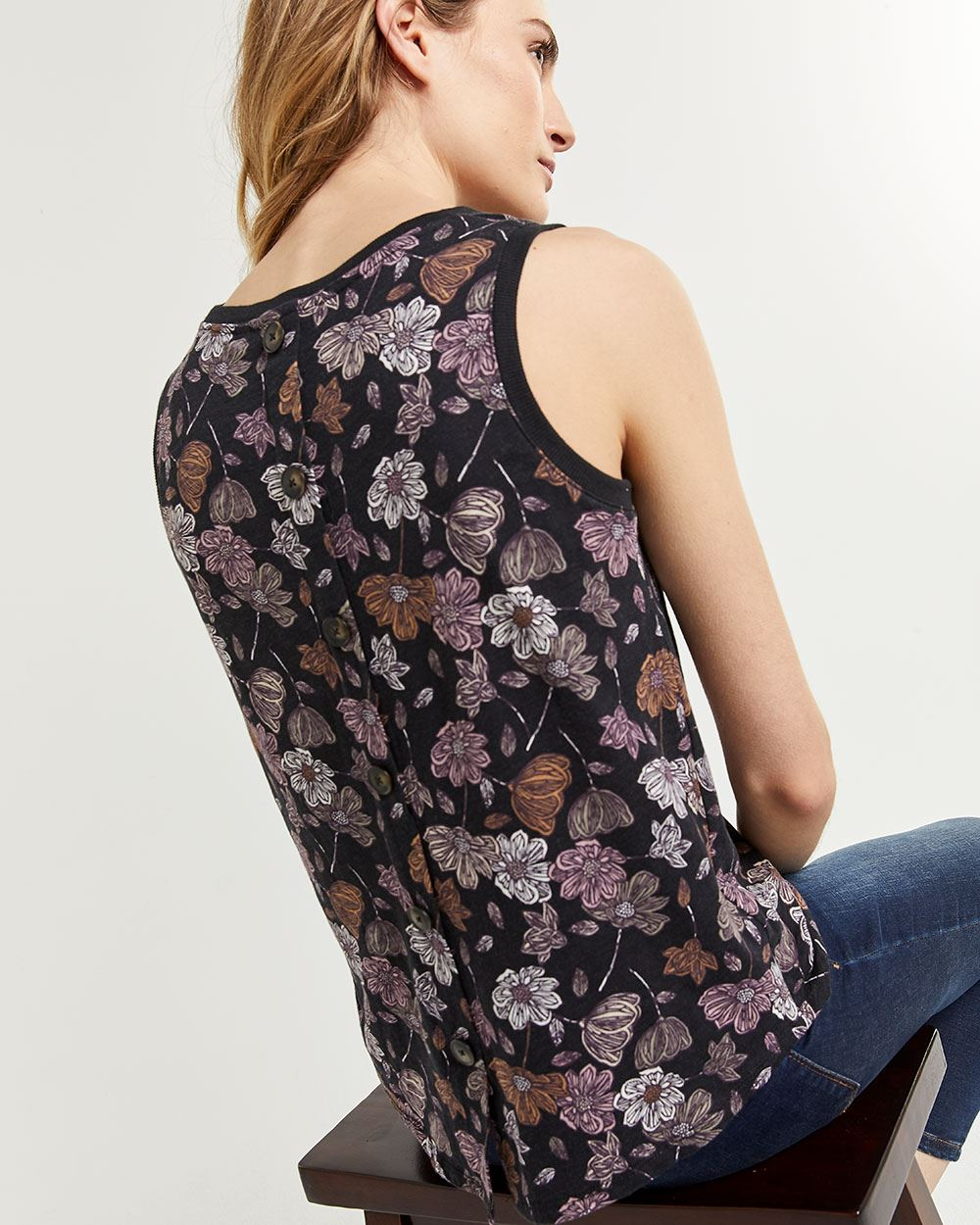 Sleeveless Top with Decorative Back Buttons