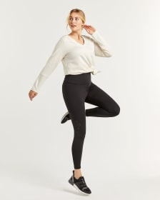 Hyba Black Perforated Namaste Yoga Leggings