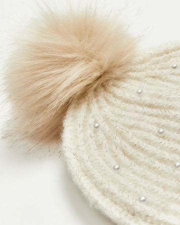 Pearl Knit Hat with Faux Fur Pompom