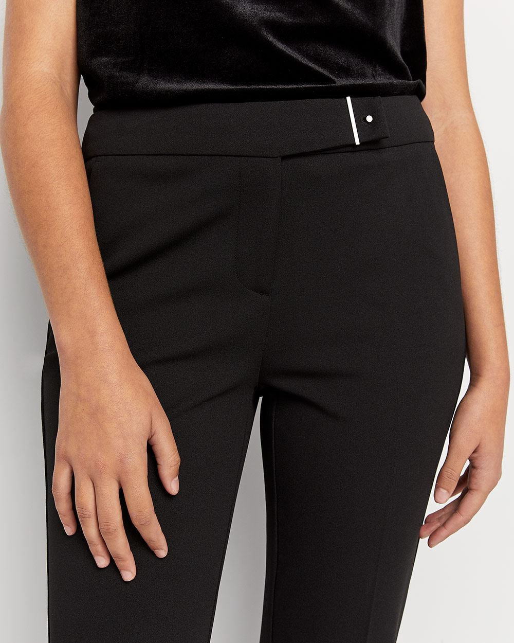 Black Straight Leg Pants with Metal Detail - Tall
