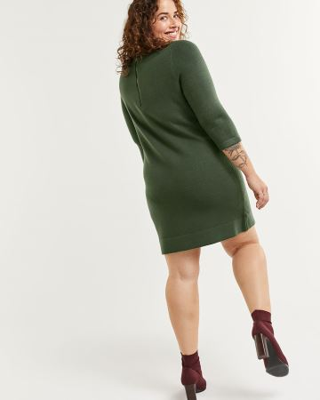 Stitch Block Boat Neck Bodycon Sweater Dress