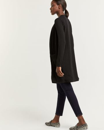 Ribbed Open Cardigan with Pockets