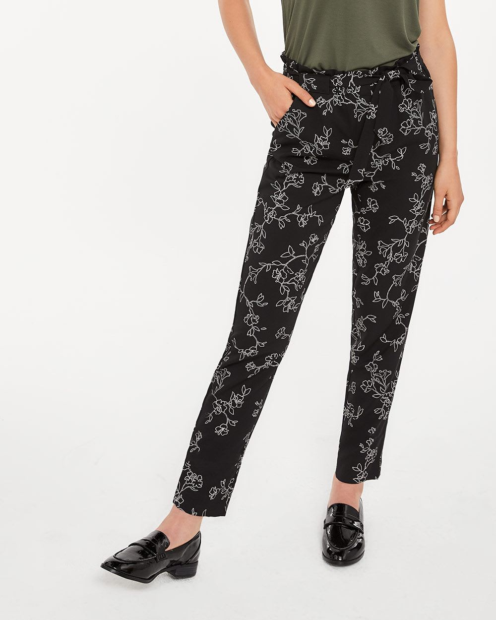 Tall Paper Bag Waist Printed Ankle Pants with Sash