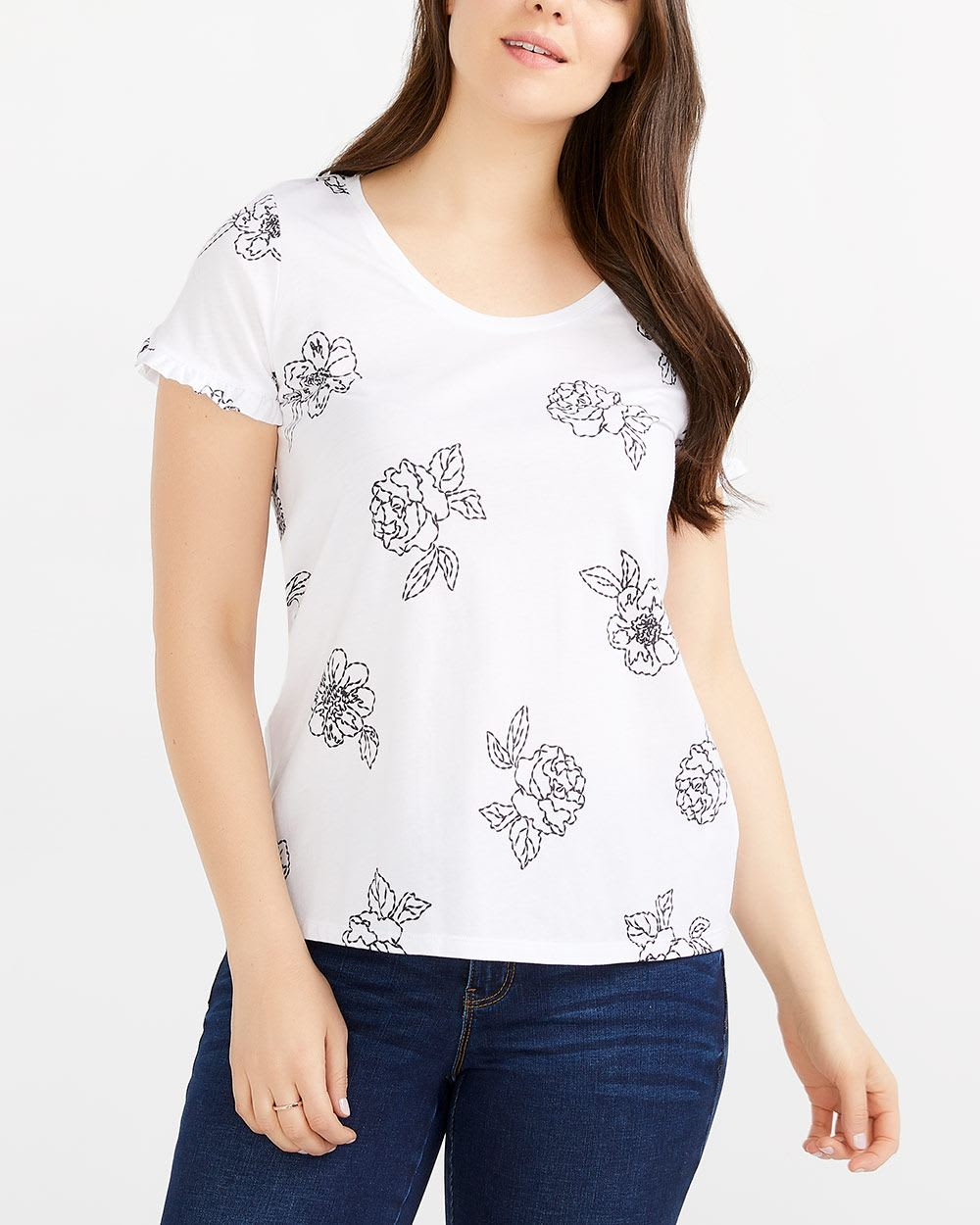 Tulip Sleeve Printed T-Shirt