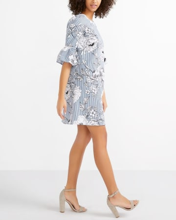 Ruffle Sleeve Printed Dress
