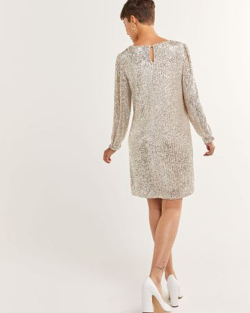 Puff Sleeve V-Neck Sequin Dress