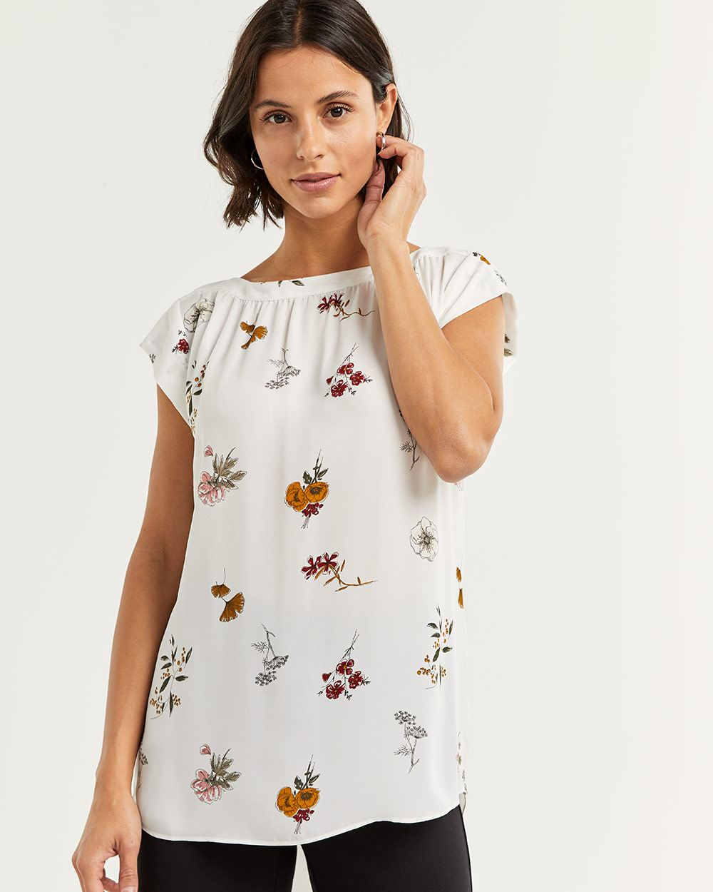 Floral Print Cap Sleeve Blouse with Shirring