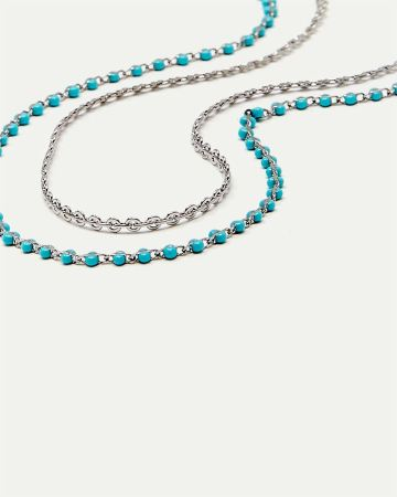 2-Piece Chain Anklet with Beads