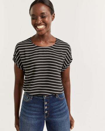 Short Sleeve Striped Crew Neck Blouse