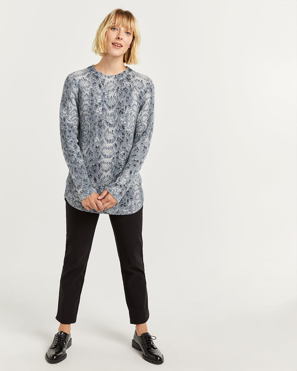 Snake Print Cotton Ribbed Sweater Tunic