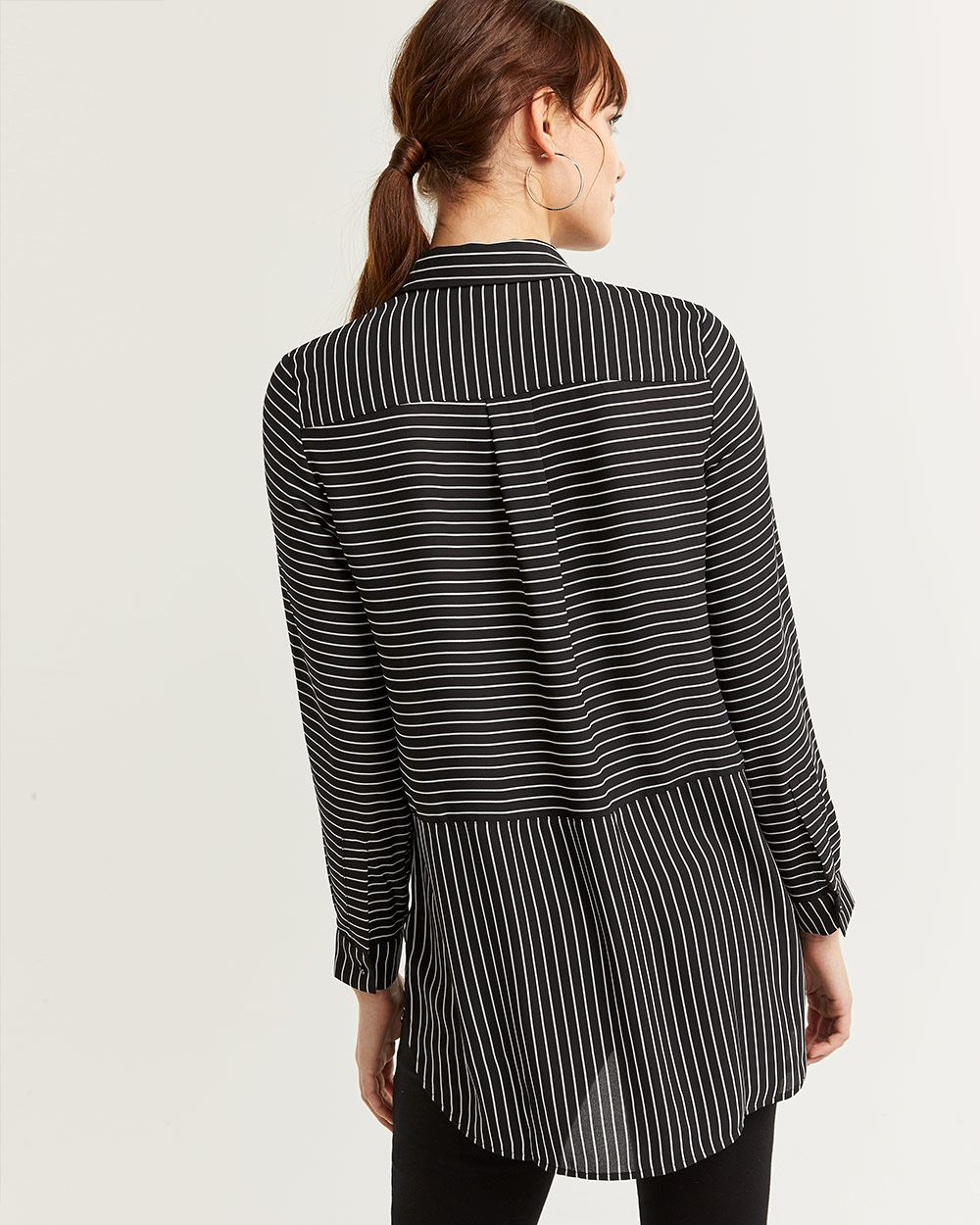 Striped Tunic Shirt with Patch Pockets