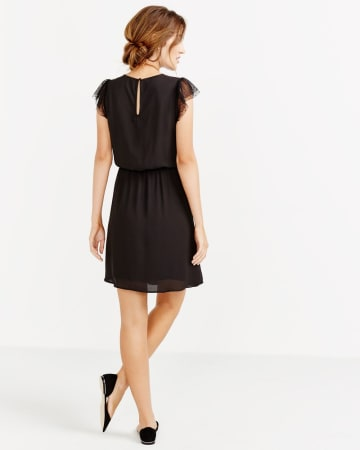 Mesh Ruffle Cap Sleeve Dress