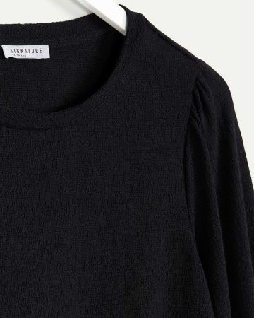 Long Puffed Sleeve Crew Neck Jacquard Tee
