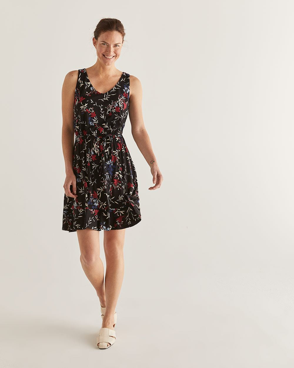 Floral Printed Elastic Waist Dress