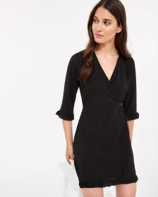 Ruffle Wrap Dress with ¾ Sleeves