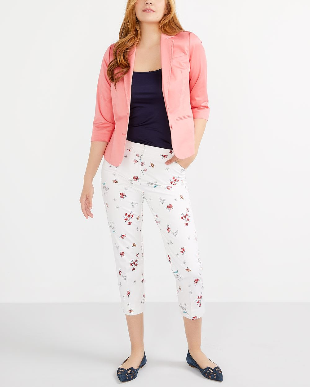 Petite Cotton Blend Printed Cropped