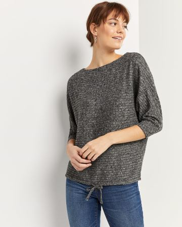 Ribbed Tee with Drawstring