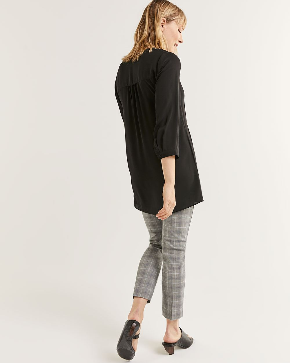 3/4 Sleeve Split Neck Tunic with Pintucks