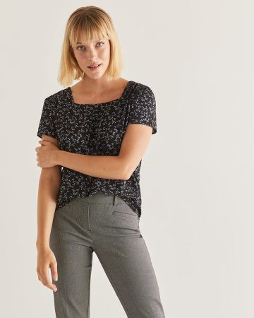 Short Sleeve Printed Blouse with Square Neckline - Petite