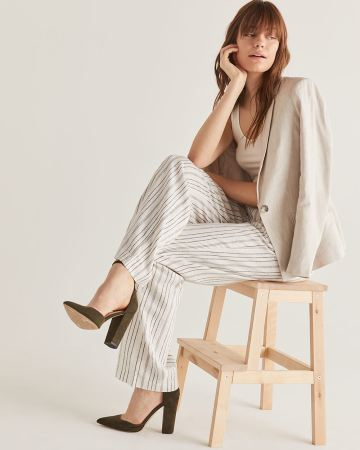 Linen-Blend Wide Leg Stripe Pants