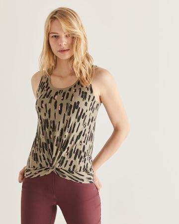 Printed Front Twist Tank Top