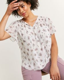 Short Sleeve Split Neck Printed Blouse with Smocking