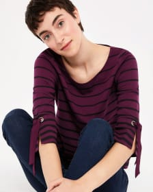 Flutter 3/4 Sleeve Stripe Top