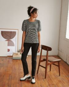Short Puffed Sleeve Crew Neck Tweed Top
