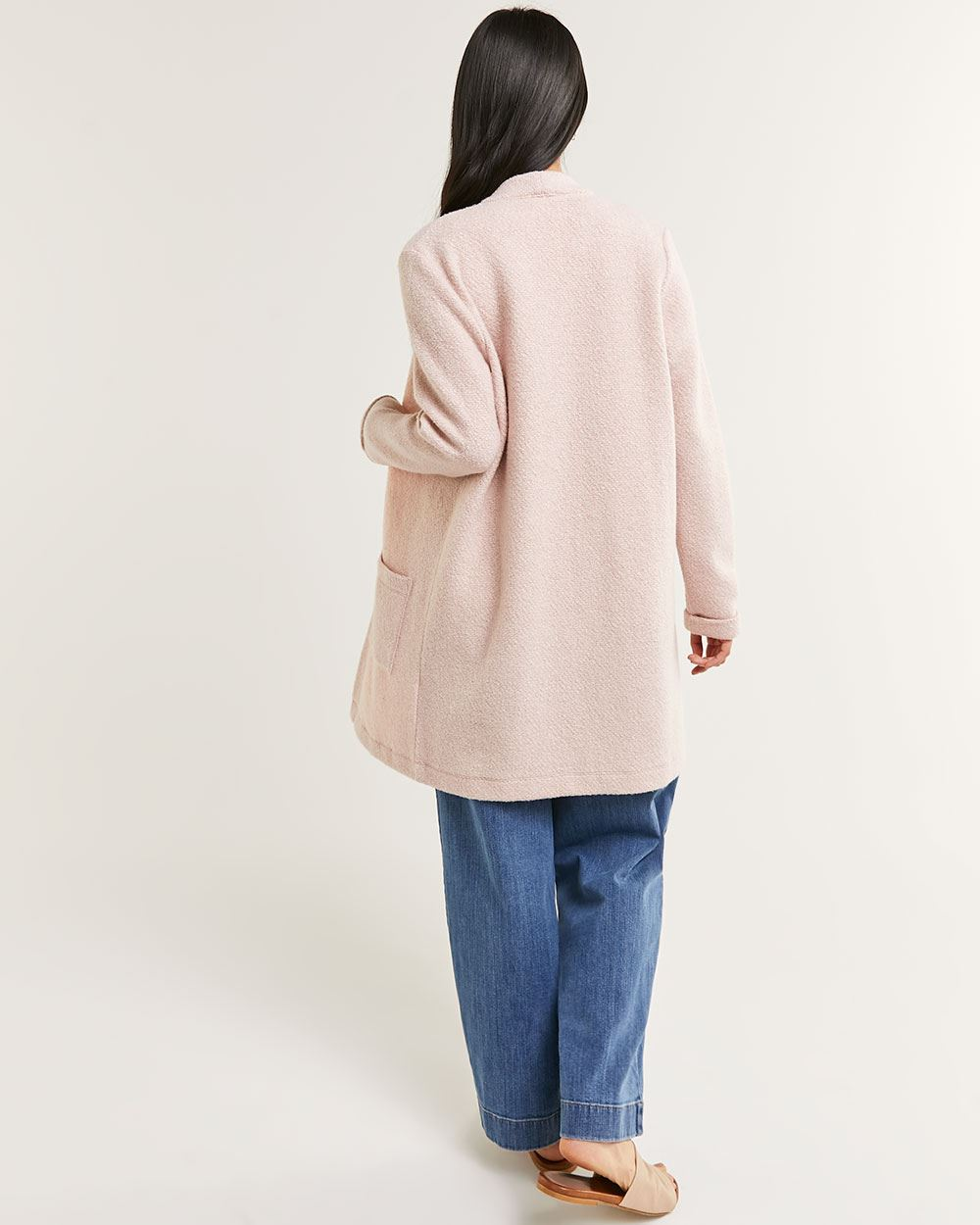 Long Sleeve Boucle Coatigan with Pockets