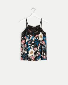 V-Neck Printed Cami with Lace Trim