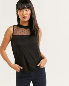 Sleeveless Mock Neck Polka Dot Top