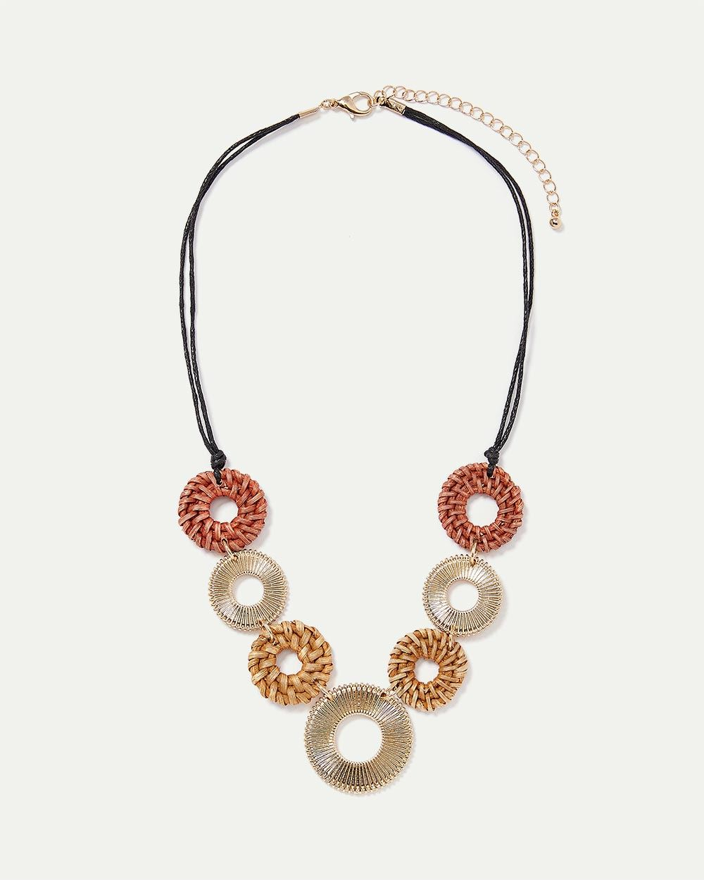 Short Necklace with Metal and Straw Discs