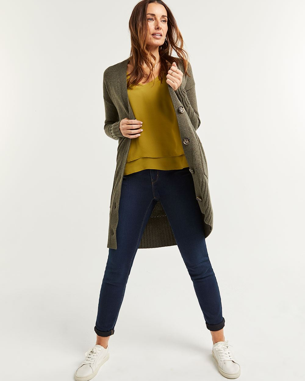 Buttoned Duster Cardigan with Pockets