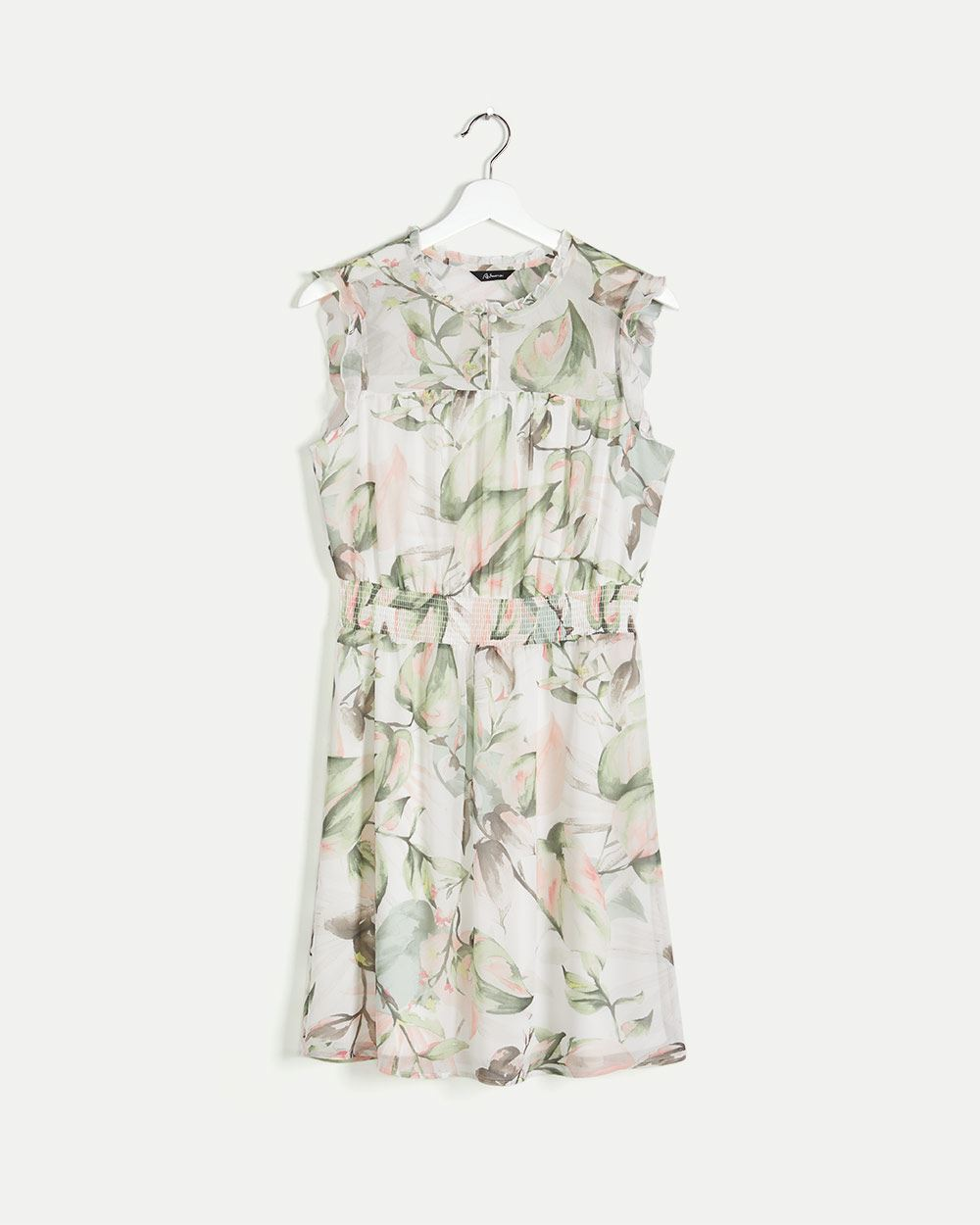 Sleeveless Printed Elastic Waist Dress with Ruffles