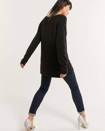 Long Sleeve V-Neck Sequin Tunic