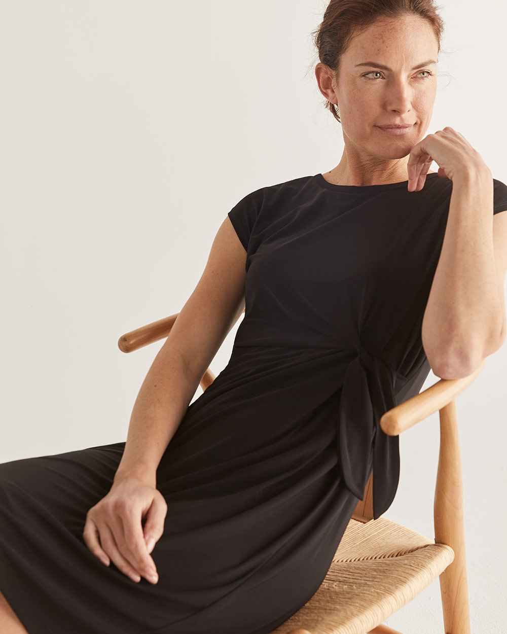 Black Knotted Shift Dress
