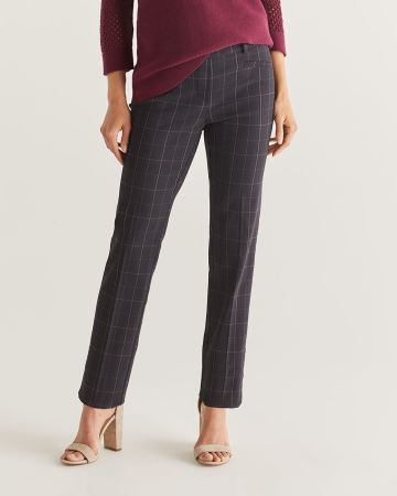 The Iconic Straight Leg Pull On Plaid Pants - Tall