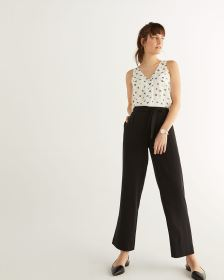 Wide Leg Black Pants with Sash