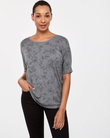 Elbow Sleeve Crew Neck Top