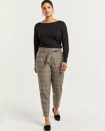 Glen Plaid Slim Pull On Paperbag Pants - Petite